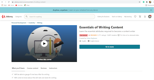 content writing course udemy