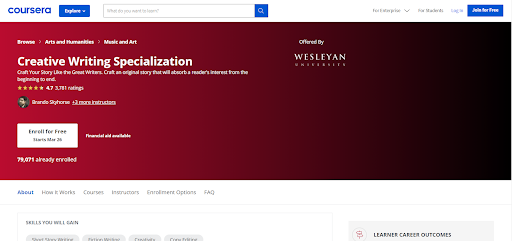 creative writing course on coursera by Wesleyan University